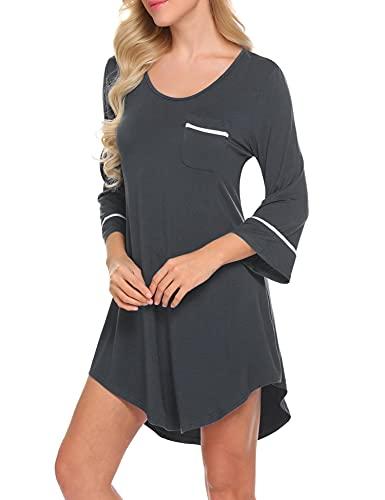 Balancora Damen Nachthemd 3/4 Ärmel Pyjamas Nachthemden für Damen Schlafshirts Damen Nachtwäsche Negligees Schlafshirt Tasche Nachtkleid Dunkelgrau