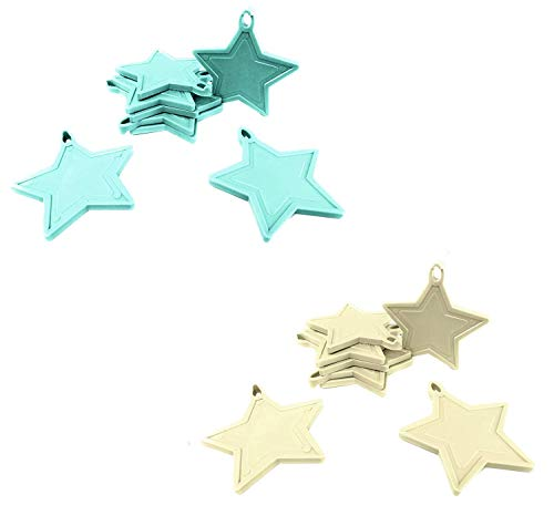 INERRA Estrella Globo Pesos para Globos de Helio - Paquete de 10 Mezclado (5 X Bebé Azul y 5 X Marfil)