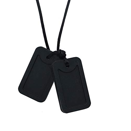 Silicone Chew Necklace for Kids Adults Silicone Dog Tag Pendant Chewy Jewelry for Autism ADHD Baby Oral Motor Chewing Biting Teething Needs Fidget Chewable Necklace (Black)