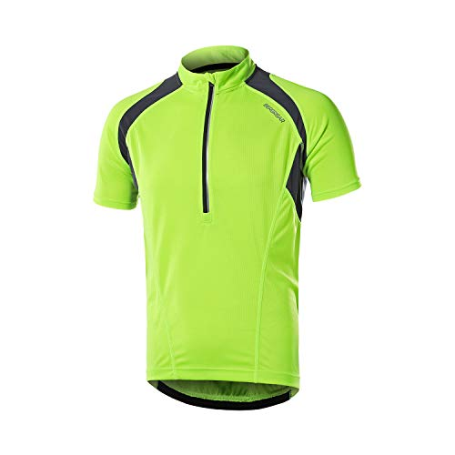BERGRISAR Men's Half Zipper Cycling Jersey Short Sleeves Bike Bicycle Shirts with Zipper Pocket Quick-Dry Breathable BG060 Green L