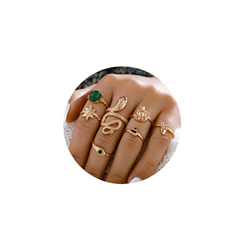 Gold Ring Sets Snake Knuckle Ring.Vintage Boho Stacking Rings Sets Stackable Midi Finger Rings for Women Girls Teens (7 Pieces)