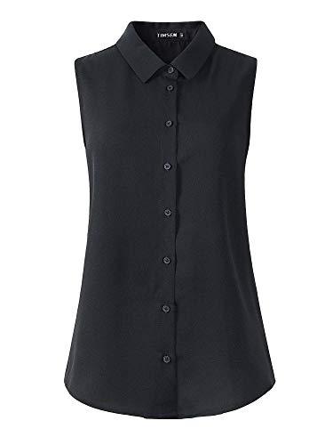 TIMSEM Womens Sleeveless Floral Printed Chiffon Casual Blouse Shirts Tops Small Black