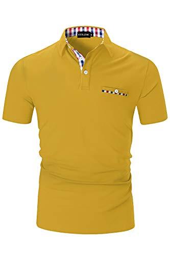 STTLZMC Casual Polo Hombre Mangas Corta Camisetas Deporte Algodón Clásico Plaid Cuello
