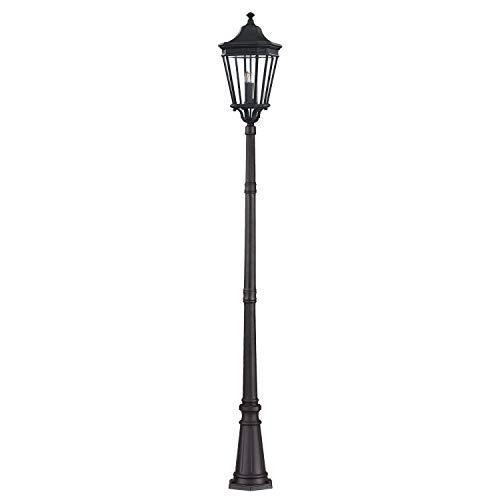 Nostalgie Gartenleuchte Schwarz Aluminium 257cm hoch Rustikal CHARLES Antike Lampen Straßenlaterne