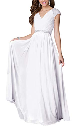 Aofur Womens Evening Dress Ball Gown Prom Party Wedding Formal Long Chiffon Maxi Dresses Plus Size (Small, White)