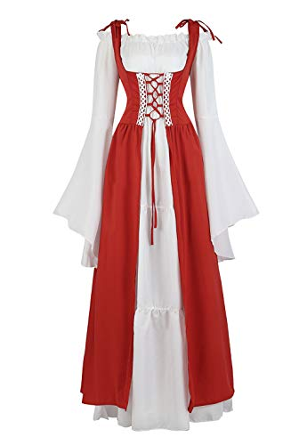 Womens Renaissance Cosplay Costume Medieval Irish Over Dress and Chemise Boho Set Gothic High Waist Gown Dress Cranberry-S