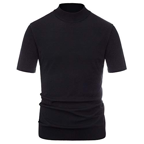 Mens Turtleneck Pullover Sweater Short Sleeve Mockneck Knitted Top Black M