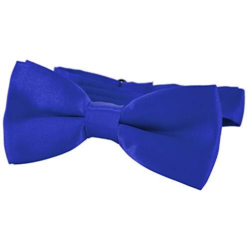 DonDon® Edle Kinder Fliege gebunden und längenverstellbar 9 x 4,5 cm blau glänzend in Seiden Look