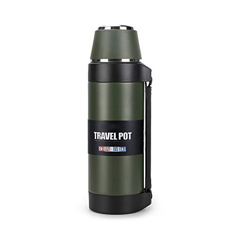 Stainless Steel Vacuum Flask with Cup – 51Oz Double-Wall Vacuum Insulated Water Bottle for Travel – Camping Coffee pot with Handle – Keeps Liquid Hot or Cold ,Leak Resistant