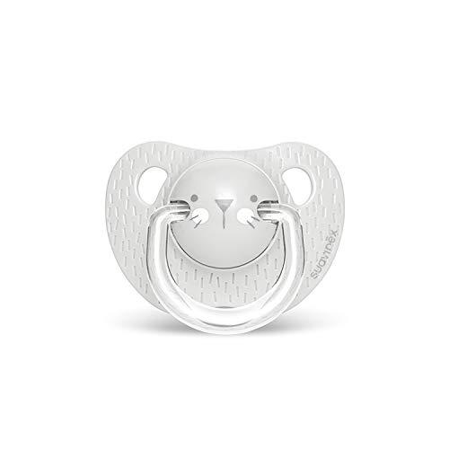 Suavinex - Chupete para bebés 0-6 meses. Chupete con tetina anatómica de silicona. 0% BPA. Color gris.