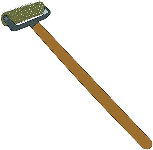Pangolino Rodillo de púas para papel pintado de 150 x 500 mm, rodillo de uñas, erizo, para perforar papel pintado, herramienta para empapelar, rodillo de uñas, rodillo de púas con mango de madera