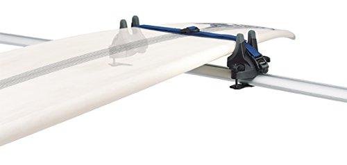Portatablas seguro y práctico para hasta 2 tablas de surf Las tablas están sujetas y protegidas en una suave plataforma de caucho Almohadilla de goma alrededor de la hebilla de la correa para proteger la tabla de surf y el vehículo de arañazos durant...
