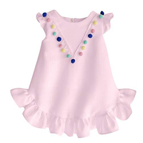Julhold Peuter Kinderen Baby Meisjes Leuke Eenvoudige Mouwloos O-hals Falbala Katoen Slanke Jurk Outfits Kleding Set 0-3 Jaar