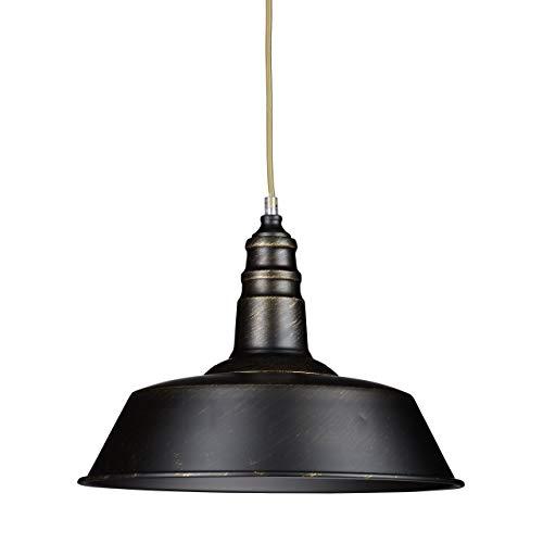 Relaxdays Industrie Deckenlampe/Deckenleuchte schwarz - Fabrik-Lampe Industrielampe im Vintage Retro Look fürs Loft - Messing-Lampe & Holz, Fassung E 27, höhenverstellbar