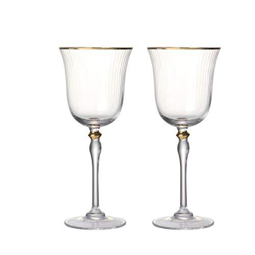 WENYOG Copas De Vino Copas de Vino Tinto de Cristal de artesanía Pintado en Oro de Estilo o Vidrio de champán para Bodas Fiesta 08 (Color : Set of 2pcs)