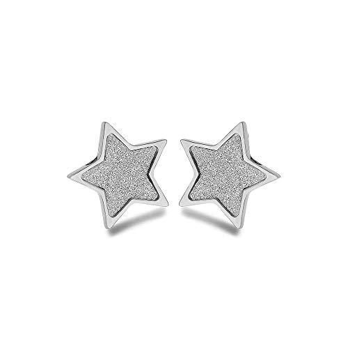 Emma Gioielli – Pendientes de mujer fijos de lóbulo de acero de alta calidad estrella estrellas purpurina – Caja de regalo