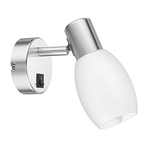 ledscom.de Wand-Leuchte LUPI mit Schalter, einflammig inkl. E14 LED Kerze Filament 4W=35W 400lm extra-warm-weiß