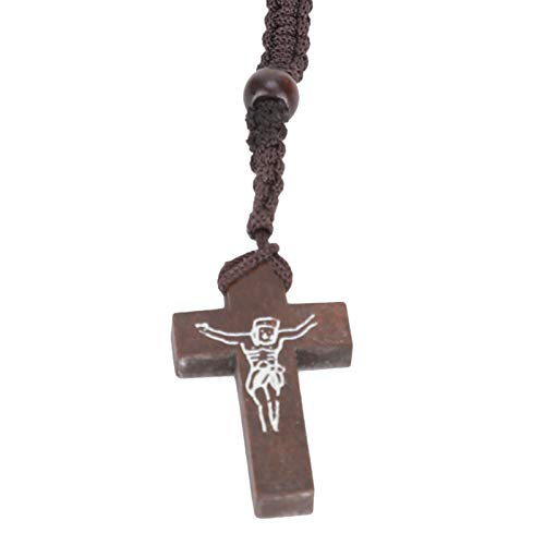 Collar, Collar cristiano Fácil de usar y quitar Collar con colgante de madera con material de madera de alta calidad Múltiples colores para accesorios de fotografía(dark brown, blue)