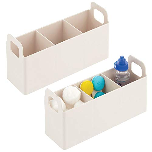 mDesign Plastic Bathroom Vanity, Cabinet, Countertop Organizer Storage Station Makeup Holder - Holds Eyeshadow Palettes, Nail Polish, Cotton Swabs, Vitamins, First Aid, 2 Pack - Cream/Beige