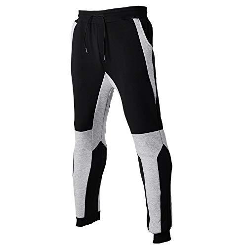 Zestion Herren Joggerhose Fahrrad Fahrradhose Stretch Skinny Slim-Fit Colorblocked Bodybuilding Workout Jogginghose X-Large