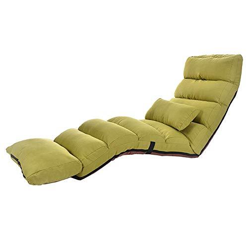 YLCJ Verlengde stoel voor games op de vloer Sof lui opvouwbaar Verstelbare gestoffeerde rugleuning Geschikt voor het bekijken van TV/Lees een boek (Kleur: Khaki)