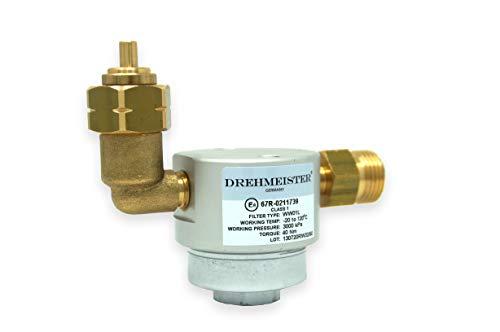 Drehmeister Filter für Gasflaschen smart 21,8 LH x G12 gerade -90° gewinkelt - Flaschenfilter (LPG, CNG, Propan, Butan) für Caravan, Camper, Wohnwagen, Grill, Gasküche oder Gabelstapler