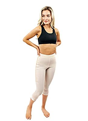 "ContourMD Post Surgery Compression Shorts Mid Calf 2"" Lycra Girdle Thigh Slimmer Style1 Beige"