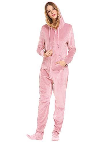 Unibelle Damen Jumpsuit Fleece-Onesie Overall Einteiler Pyjama Mit Footed Trainingsanzug Ganzkörperanzug Hausanzug Mit Kapuze & Reißverschluss