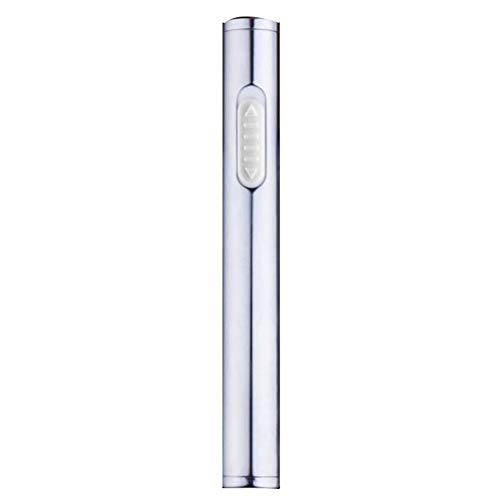 USB-aansteker, creatieve metalen gepersonaliseerde windbestendige aansteker, elektronische aansteker voor vriendje,Silver