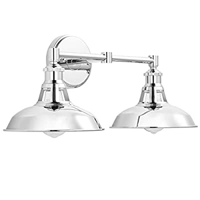 Olivera 2 Light Bathroom Vanity Light   Chrome Industrial Wall Sconce with LED Bulbs LL-WL882-2PC
