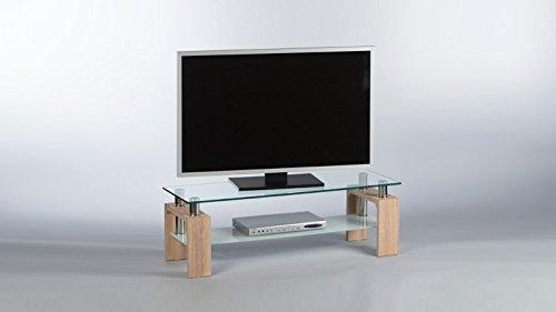 Stella Trading Lowboard Mango TV-Board mit Glasplatte und Ablage Milchglas Gestell in