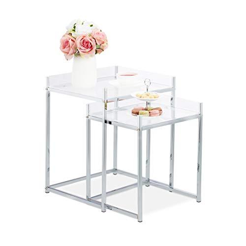 Relaxdays Bijzettafel in 2-delige set, hoekig, modern design, acryltafel voor woonkamer, h x b x d: 49 x 40 x 35 cm, transparant, 2 stuks
