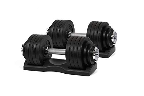Ringstar Starring 105-200 Lbs adjustable dumbbells (105 LBS Black with Trays)