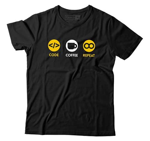 Camiseta Programador Programação Camisa Engraçada Code Cofee Repeat (G)