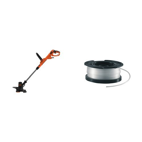 Black+Decker BESTE630 Elektro-Rasentrimmer/Rasenkantenschneider, 230 V, Schwarz, 30 cm + vollautomatische Einzelfadenspule (für Rasentrimmer 10m Länge, 1.5mm Fadendurchmesser) A6481