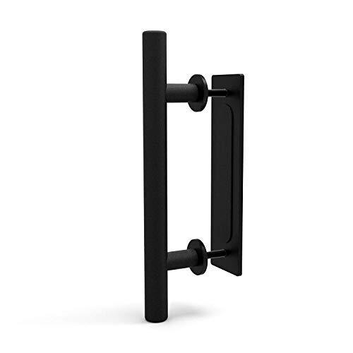 CCJH Retro Manija de la Puerta Corrediza Negro Aluminio Tirar y Lavar la Manija para Puerta Corredera de Madera, 24cm