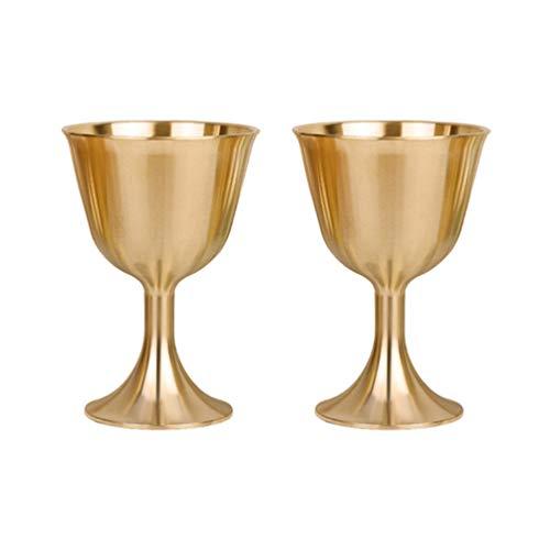 Veemoon 2 Unidades de Copas de Cáliz de Latón Copas de Vino sin Tallo Copas de Vino de Cobre Copas de Licor de Metal Tazas de Bebida Vasos para Fiestas en Casa