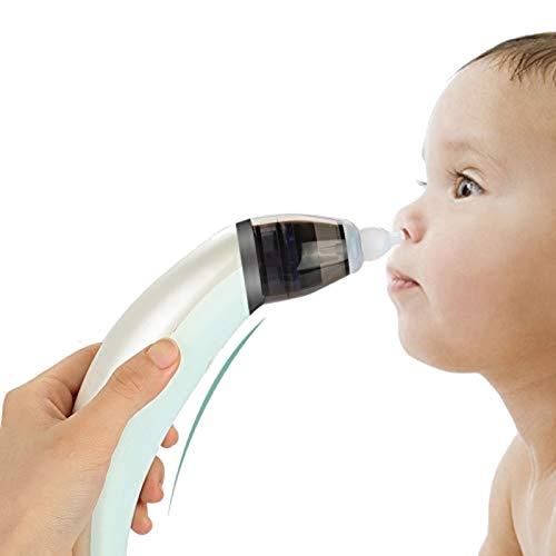 Nasensauger Baby, Elektrischer Nasal Aspirator Nase Reinigungs-Sets mit 5 Saugstufen und 2 Größen Silikon Tipps, Nasenreiniger mit USB Aufladen für Neugeborene und Kleinkinder