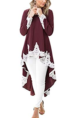 Angashion Women's Loose Lotus Leaf Cocktail Round Neck Flounce Ruffle Sleeve Irregular High Low Maxi Dress