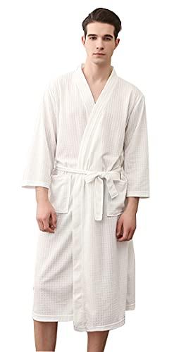 AIEOE - Kimono Albornoz de Hombre Mujer Verano Transpirable con Bolsillos Manga Larga para Baño Ducha Piscina Hotel - Blanco - M