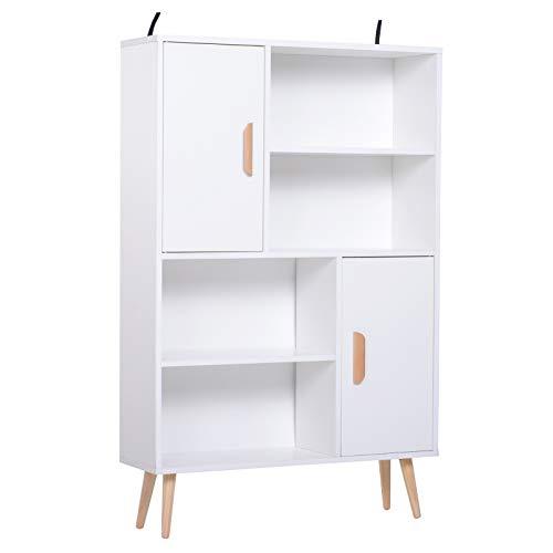 homcom Libreria Scaffale Multifunzionale Salvaspazio con 2 Porte da Soggiorno Pannelli Particelle 80 x 23.5 x 123cm Bianco