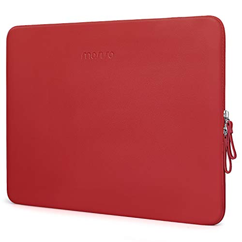 MOSISO Laptop Sleeve Compatible with MacBook Air 13 inch A2337 M1 A2179 A1932, 13 inch MacBook Pro A2338 M1 A2289 A2251 A2159 A1989 A1706 A1708, PU Leather Padded Bag Waterproof Case, Red