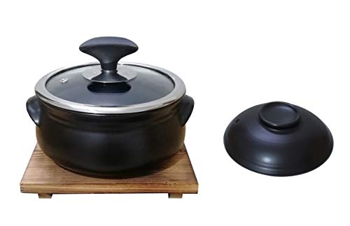Korean Premium Ceramic Stone Bowl with Lid+One glass lid, For Cooking Hot Pot Dolsot Bibimbap and Soup