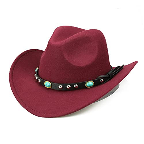 YHFJB Sombrero de vaquera con forro de fieltro central para fiesta de cumpleaños, Navidad, Halloween, vino tinto