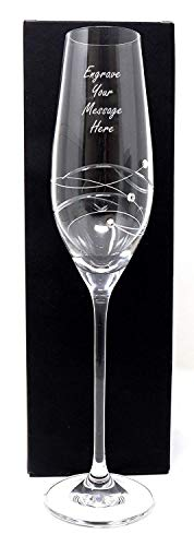 Engraved/Personalised Diamante Champagne/Prosecco Flute Glass (Cardboard Gift Box)