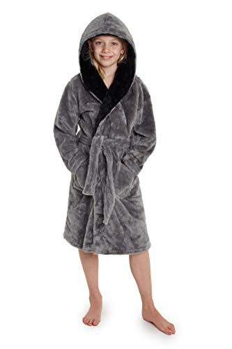 CityComfort Dressing Gown Boys, Kids Fleece Hooded Dressing Gown 7-14 Years (13-14 Years, Grey)