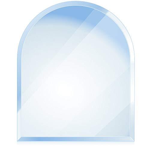 bijon® Funkenschutz-Platte mit Facettenschliff | Glasplatte Kaminofen | Kaminschutz mit ESG Sicherheitsglas | Kamin Zubehör | Kamin Glasplatte | Rundbogen 120 x 100 cm | 6mm