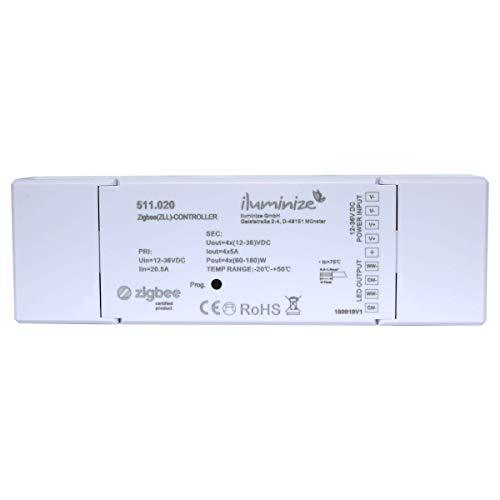 iluminize Zigbee 3.0 LED-Controller 4x 5A, 12V-36V, für duo-weiße (CCT) LEDs, Lightlink & Touchlink (4x 5A duo-weiß)