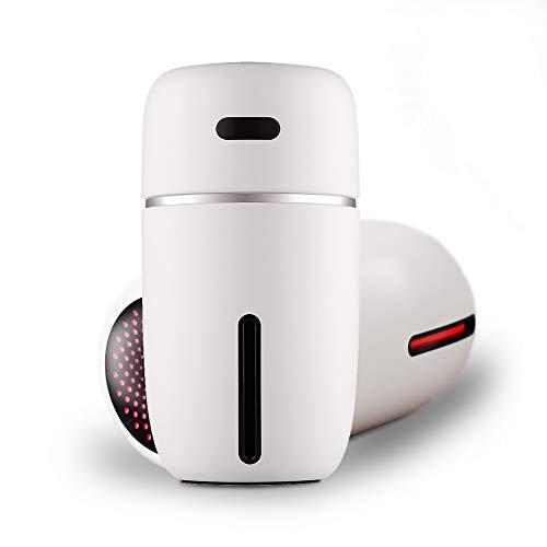 Richgv Humidificador Coche Portátil, Mini Humidificador Ultrasónico con Luces 200ml Humidificador Bebes Silencioso para Coche/Oficina/Hogar (200mL,Blanco)