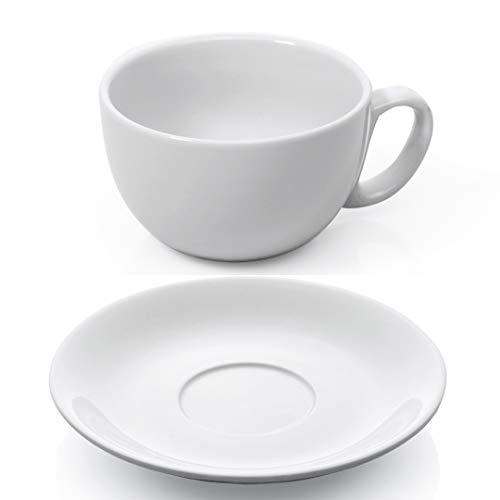 Gastro Spirit - 12-teiliges XL Cappuccino-Tassen/Kaffee-Tassen Set - Weiß, 350 ml, Porzellan, dickwandig, spülmaschinenfest, italienisches Design